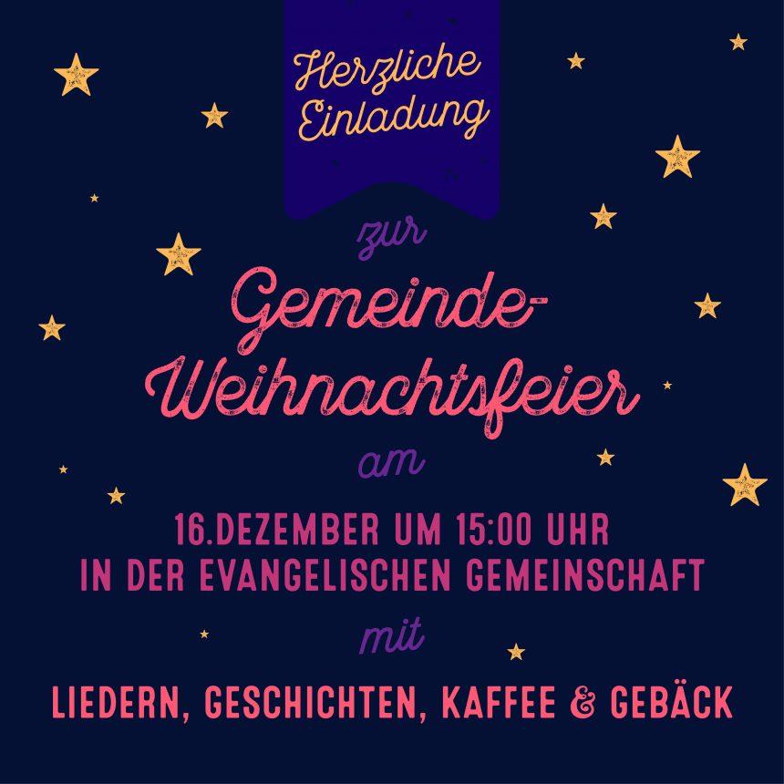 Gemeindeweihnachtsfeier am 16. 12.